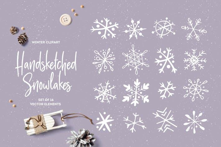 Handskizzierte Schneeflocken