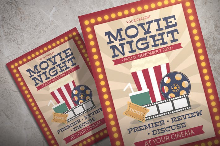 Movie Night Premier - Illustration Flyer Template