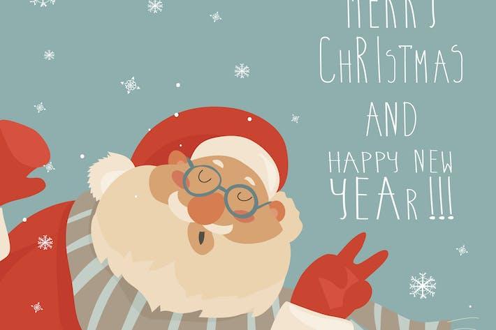 Thumbnail for Vector Christmas card with Santa Claus