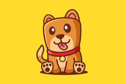 Cartoon Cute Dog Sit Down