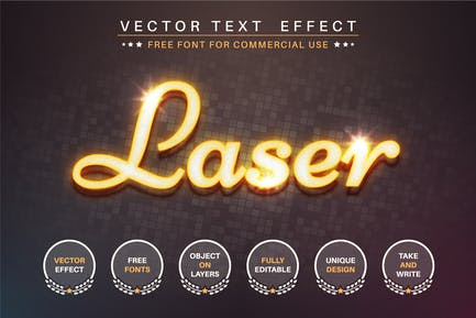 Yellow laser - editable text effect, font style