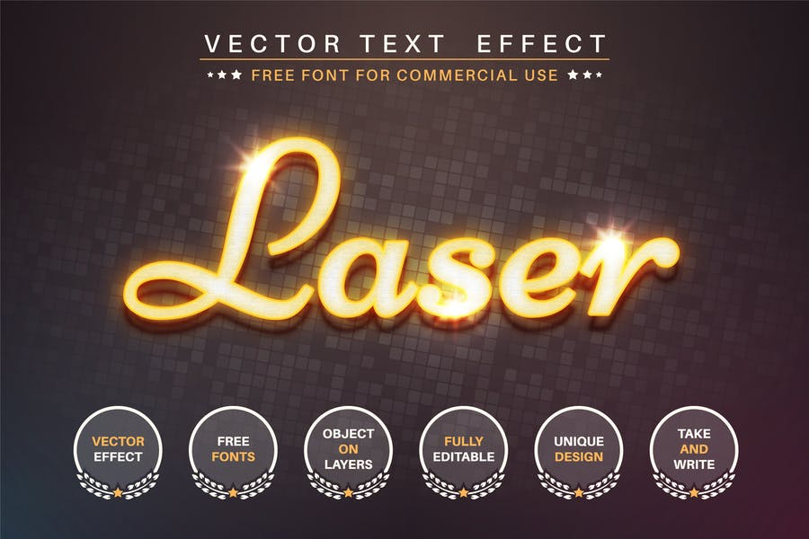 Láser amarillo - efecto de texto editable, estilo de fuente