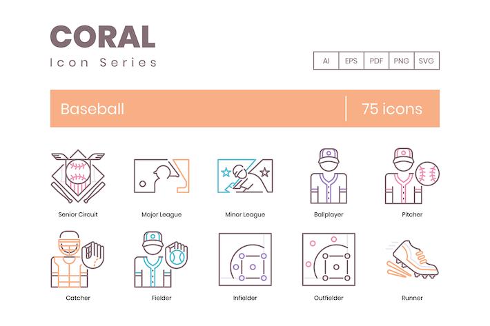 Thumbnail for 75 Icons der Baseballlinie