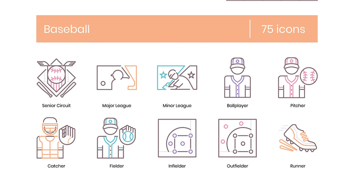 Download 75 Baseball Line Icons by Krafted