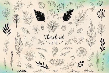 Floral Doodle Design Elements