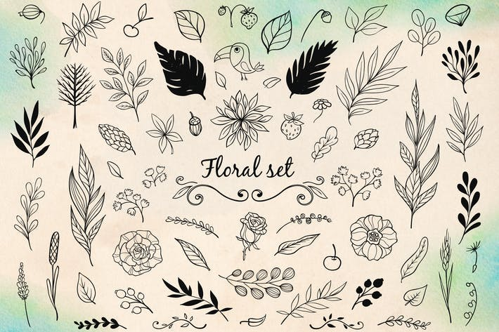 Thumbnail for Floral Doodle Design Elements