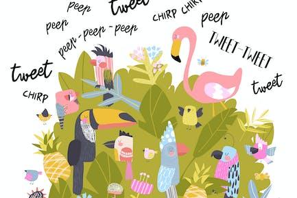 Симпатичные птицы мультфильм поют #illustration2020