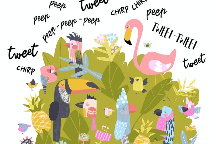 Thumbnail for Cute cartoon birds singing #illustration2020