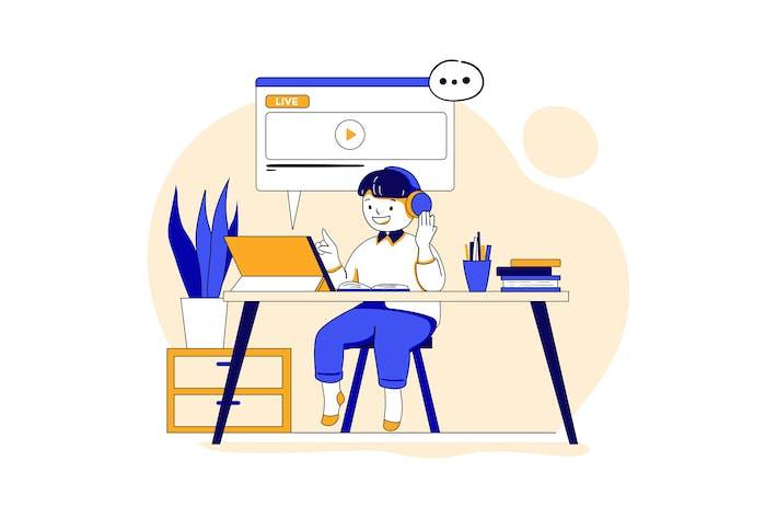 Junge lernt online mit Tablet.