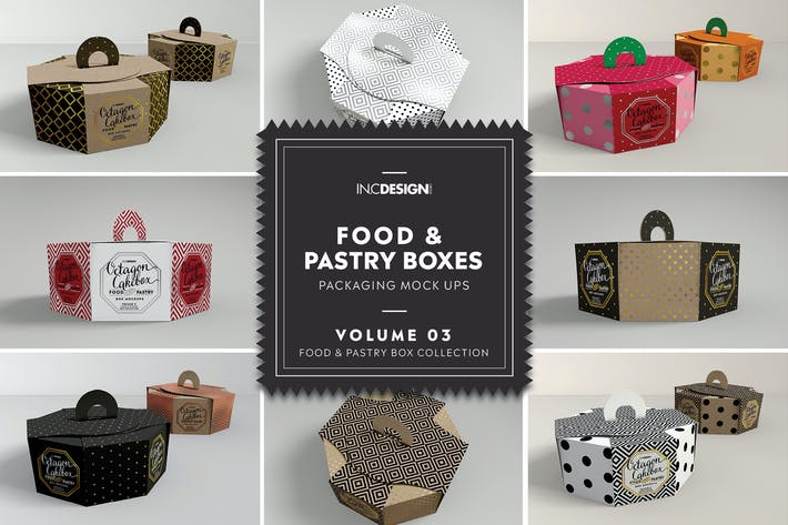Thumbnail for Food Pastry Boxes Vol.3: Packaging Mockups