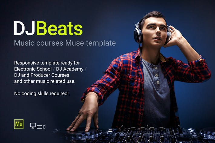 Thumbnail for DJBeats - Music DJ Courses / School Template