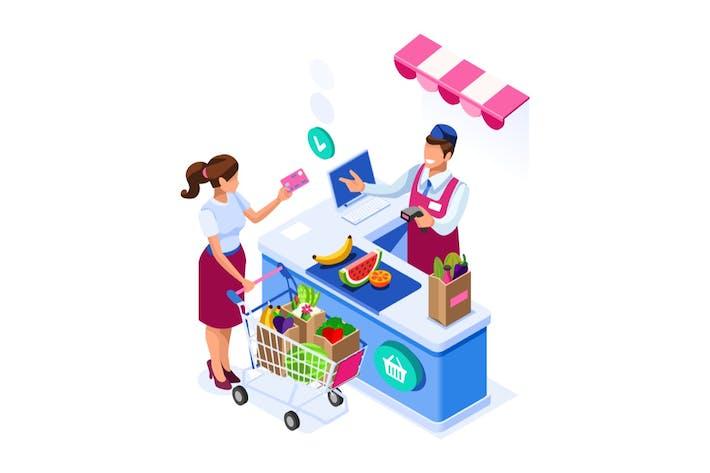 Supermarket Buy Concept Goods Vector