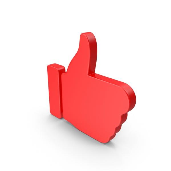 Большой палец вверх красный веб-значок