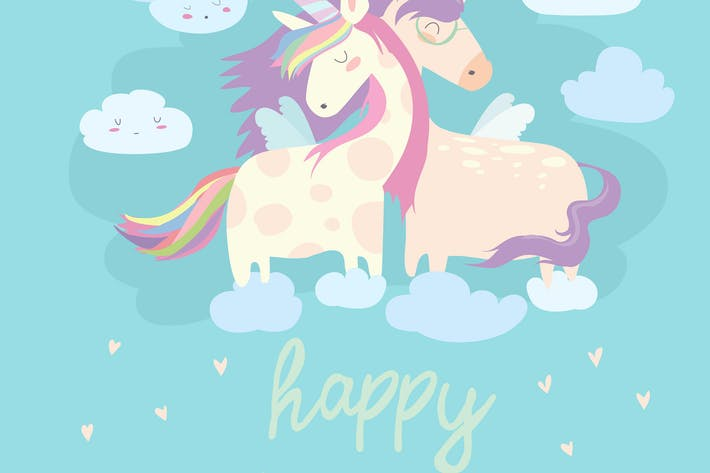 Thumbnail for Cute card with fairy unicorns boy and girl in love