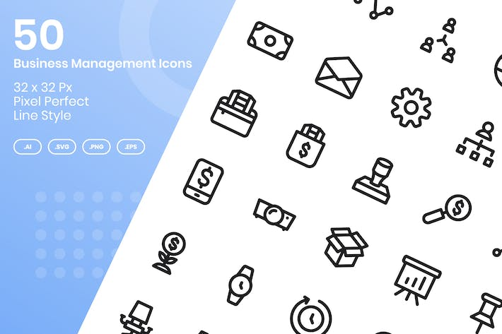 Thumbnail for 50 Business Management Icons Set - Line