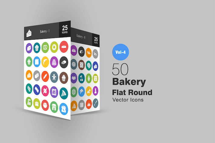 Thumbnail for 50 Bakery Flat Round Icons