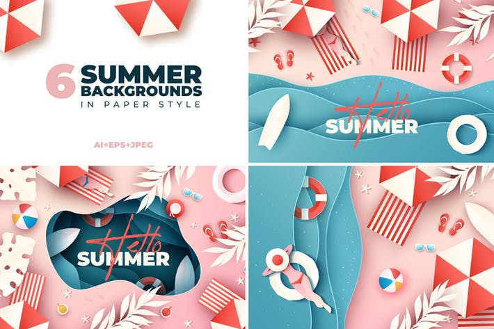 Thumbnail for Summer Background Illustrations in Paper Style