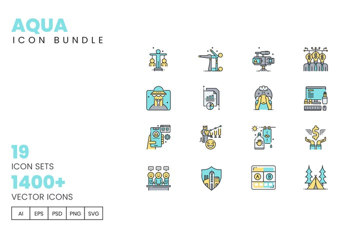 Thumbnail for 1400+ Icons - Aqua Vector Bundle
