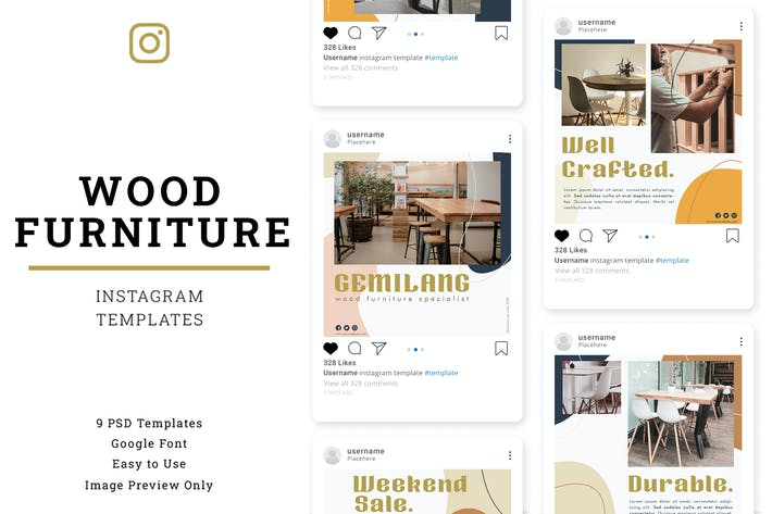 Thumbnail for Wood Furniture Instagram Post Template