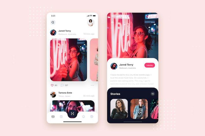 Thumbnail for Social Feeds Mobile App UI Kit Template