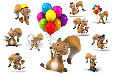 10 lustige Cartoon-Eichhörnchen!