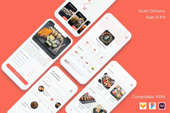 Thumbnail for Sushi Delivery App UI Kit
