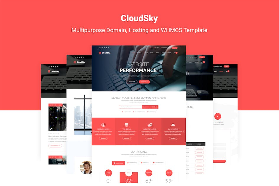 Download CloudSky   Domain, Hosting and WHMCS Template by themelooks
