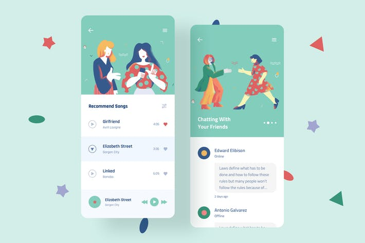 Thumbnail for Leisure Mobile Interface Illustrations