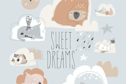 Cute cartoon animals sleeping on clouds. Vector