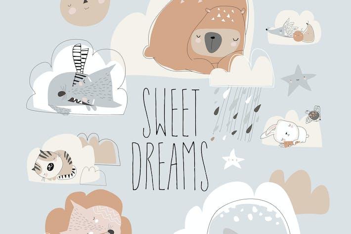 Thumbnail for Cute cartoon animals sleeping on clouds. Vector
