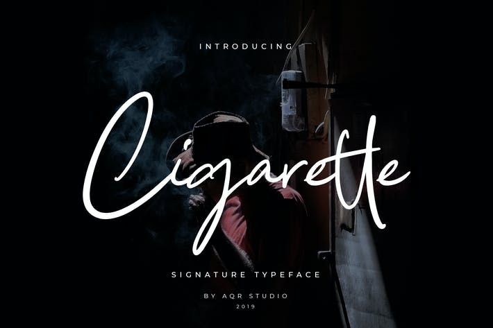 Thumbnail for Cigarette Signature Font Pro Version