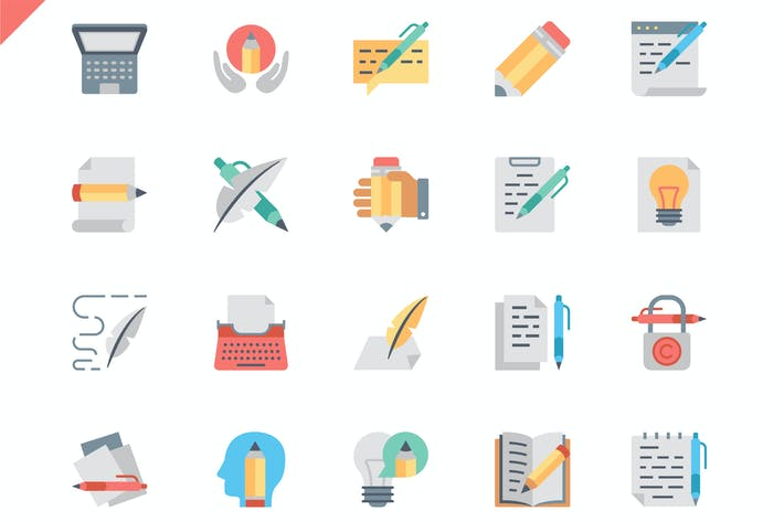 Thumbnail for Simple Set Copywriting Flat Icons