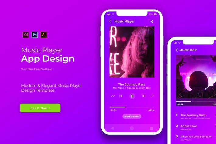Thumbnail for Purple Music Player | Plantilla de diseño de Aplicación