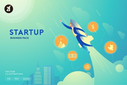 Businessman startup illustration with layout
