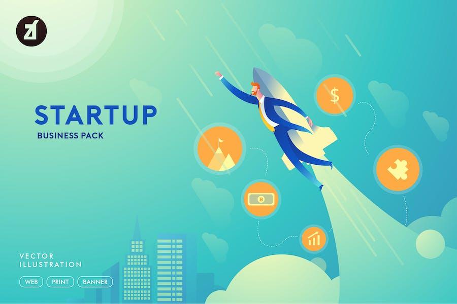 Kaufmann Startup Illustration mit Layout