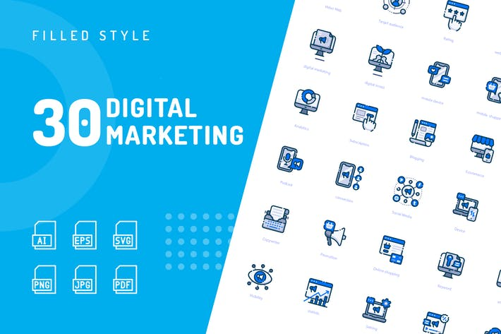 Thumbnail for Digital Marketing Filled Icons