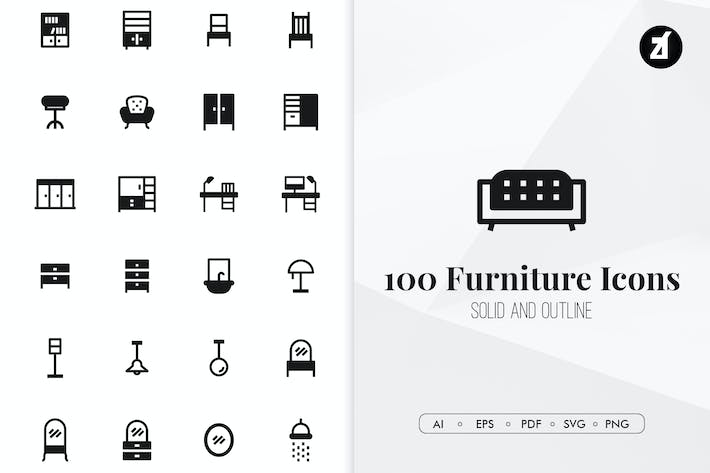Thumbnail for 100 Furniture minimal icons