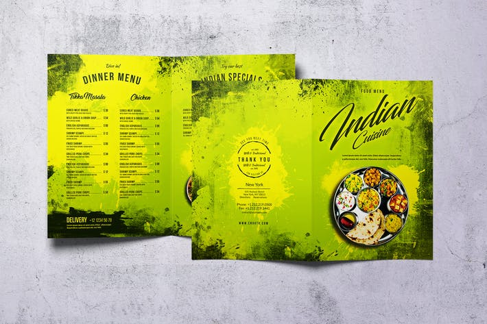 Thumbnail for Indian Cuisine Bifold A4 & US Letter Food Menu