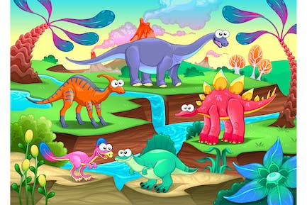 Group of Funny Dinosaurs in Prehistoric Landscape