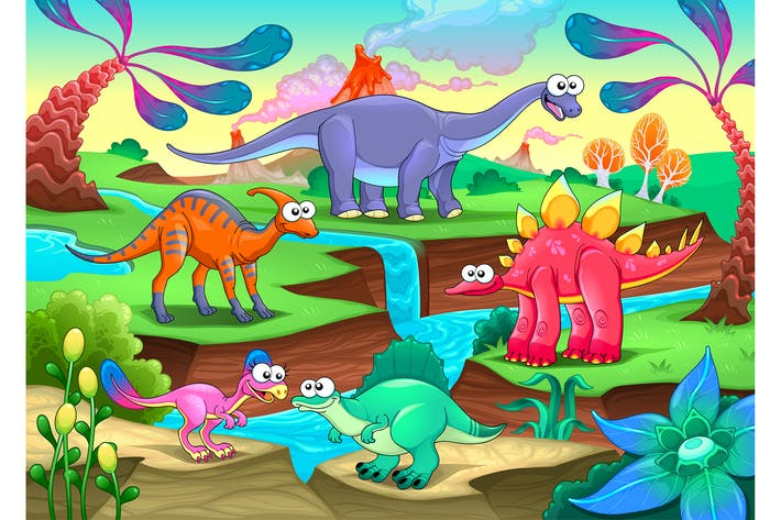 Thumbnail for Group of Funny Dinosaurs in Prehistoric Landscape