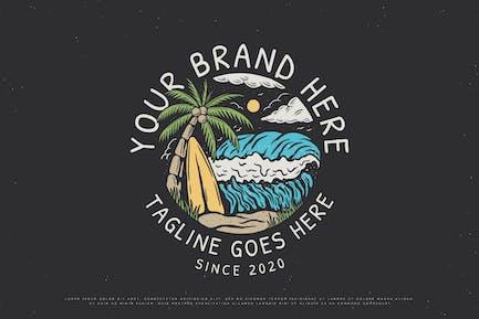 Vintage beach surfboard illustration design