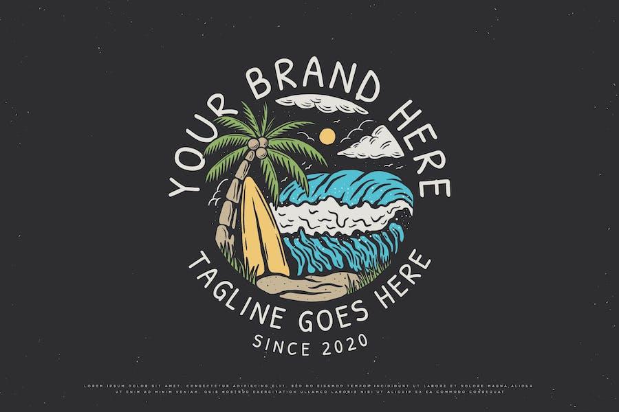 Planche de surf de plage vintage
