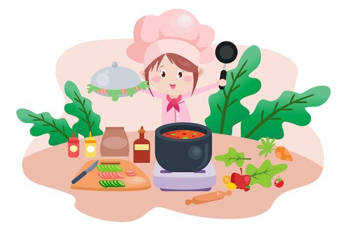Thumbnail for Little Chef - Vector Kids Illustration