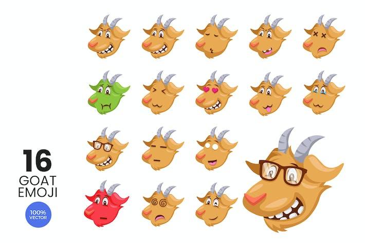 Thumbnail for 16 personnages mignons avatar emoji Vecteur de chèvre