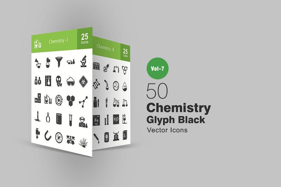 50 Chemistry Glyph Icons