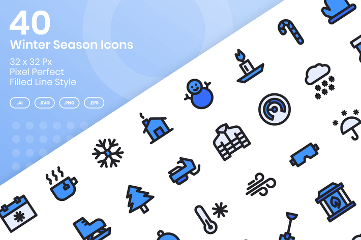 Thumbnail for 40 Winter Season Icons Set - Filled Line