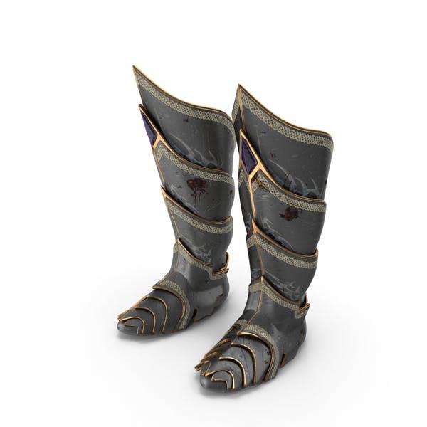 Боевые изношенные фантазийные сапоги рыцаря