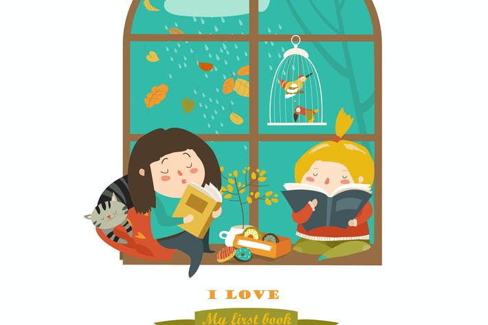Thumbnail for Cute girls reading book by the window. Vector