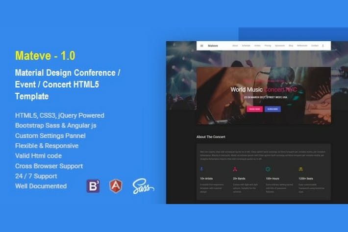 Thumbnail for Mateve  Event / Conference / Concert HTML Template