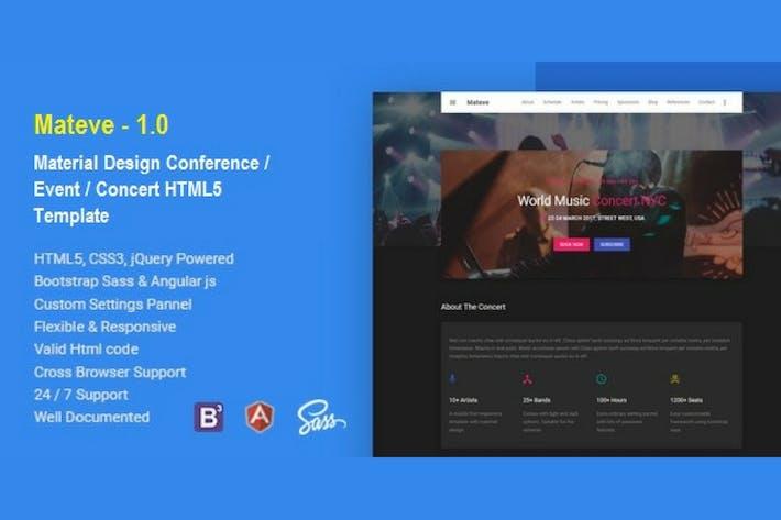 Thumbnail for Mateve Event/Conferencia/Concert HTML Plantilla